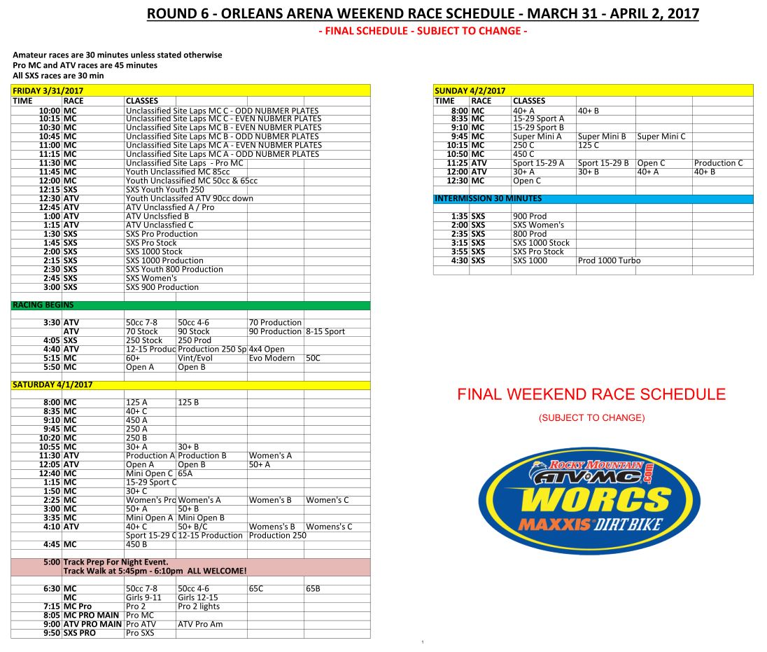 Final - Orleans Weekend Race Schedule 2017 V2-WEB