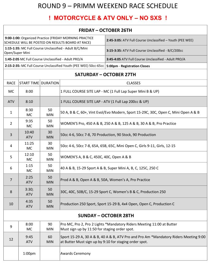 2018 Round 9 MC ATV Weekend Race Schedule
