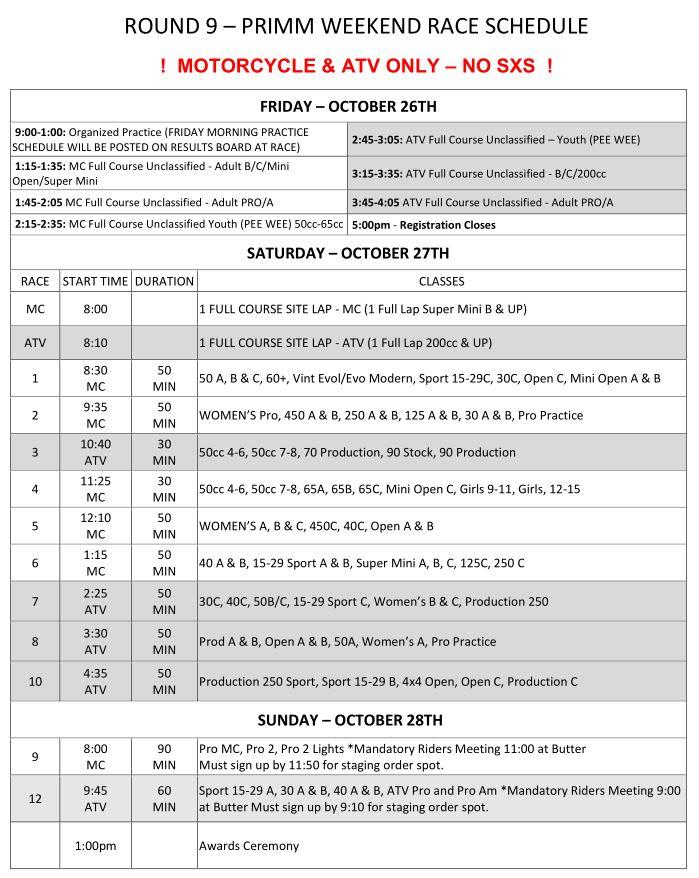 2018 Round 9 Weekend Race Schedule