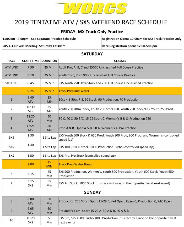 2019 ATV SXS Race Weekend Schedule Web Preview