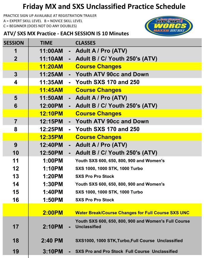 2019 ATV SXS Race Weekend Unclassified Practice Schedule Web Preview