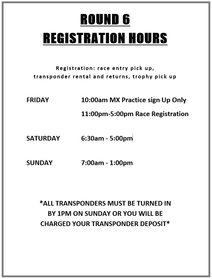 2019 Round 6 ATV SXS Registration Hours