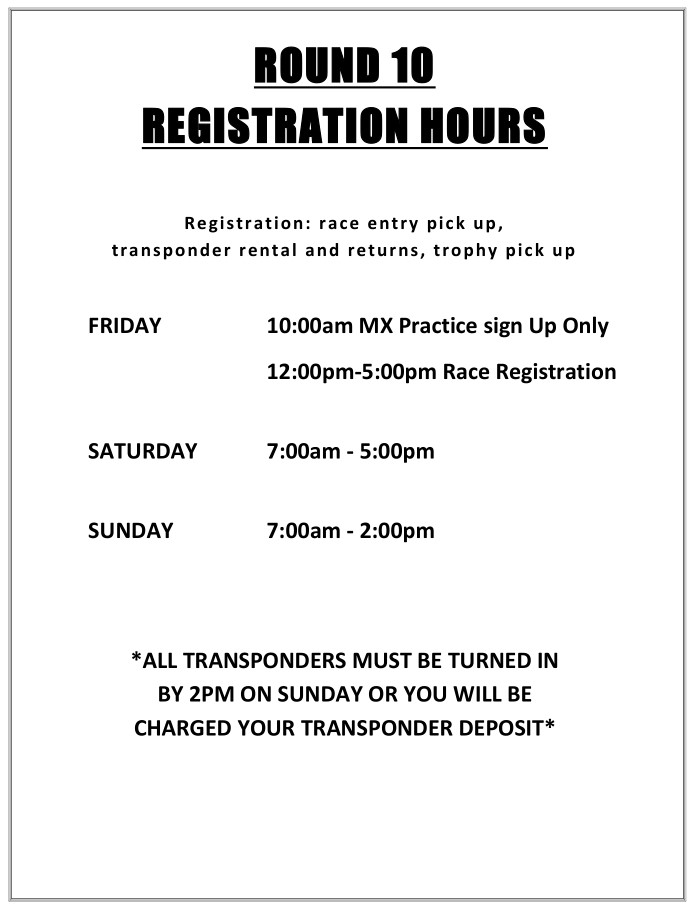 2019 Round 10 Taft MC Registration Hours