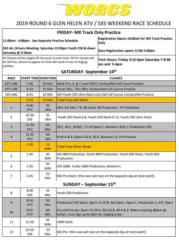 2019 Round 6 ATV SXS Race Weekend Schedule Web