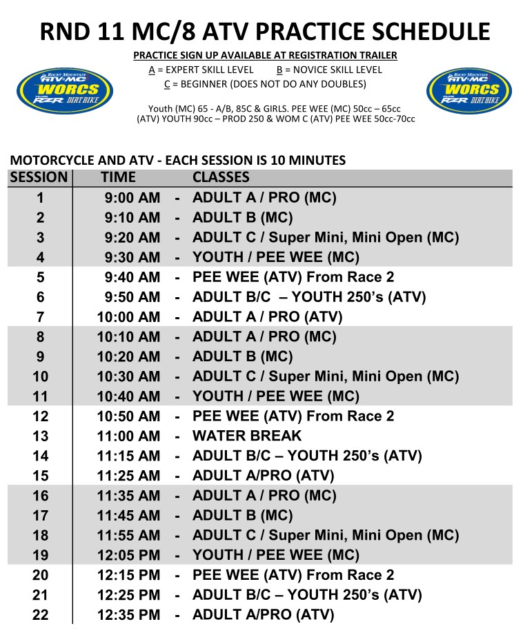 2019 Round 11 MC Round 8 ATV Weekend MX Practice Schedule