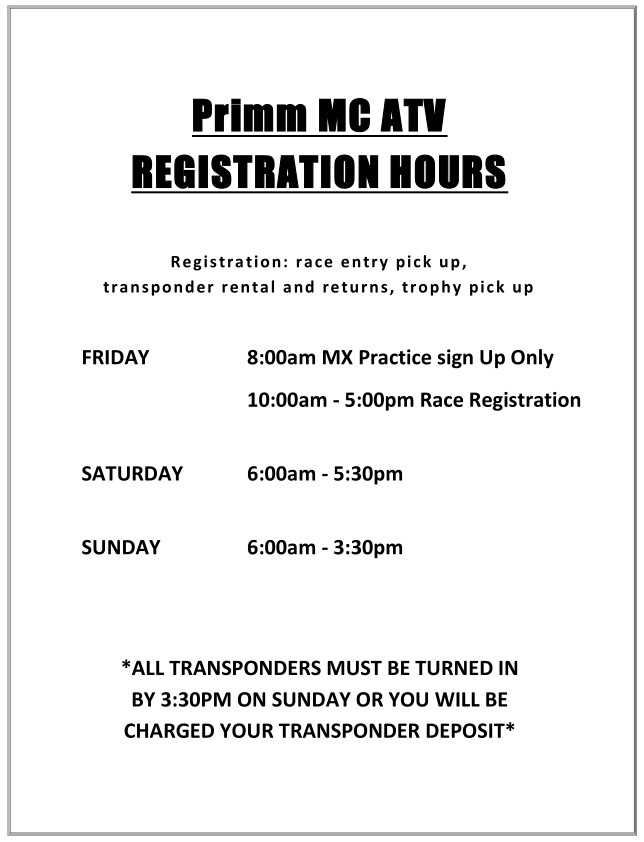 2019 Round 11 MC Round 8 ATV Weekend Registration Hours