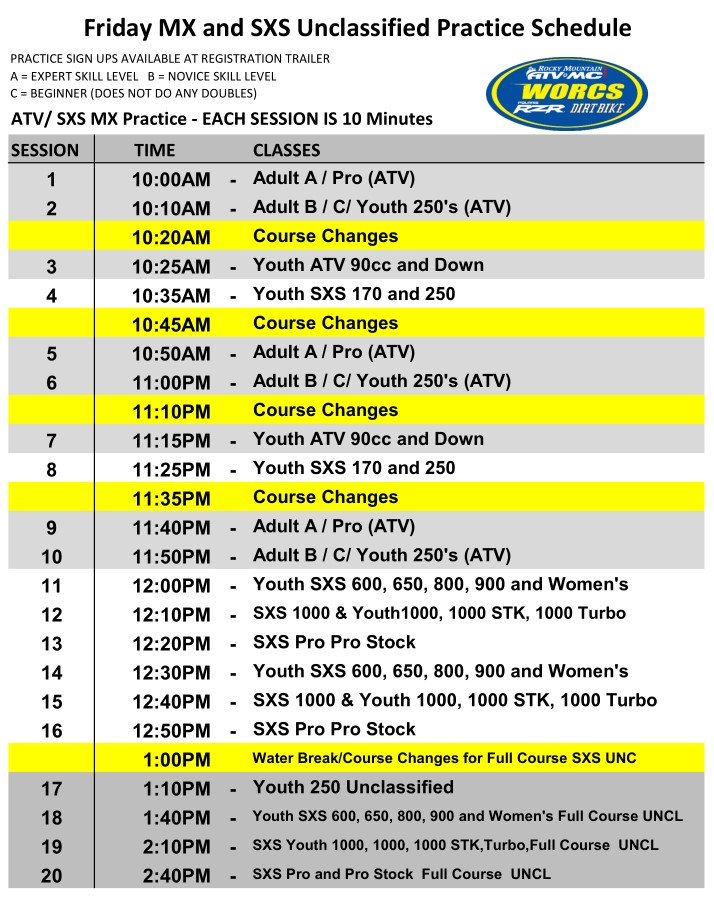 2020 Round 2 ATV SXS Friday MX and UNC Primm Schedule Web