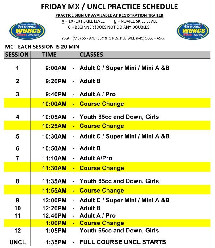 2020 Round 3-4 Havasu MC MX Practice Schedule