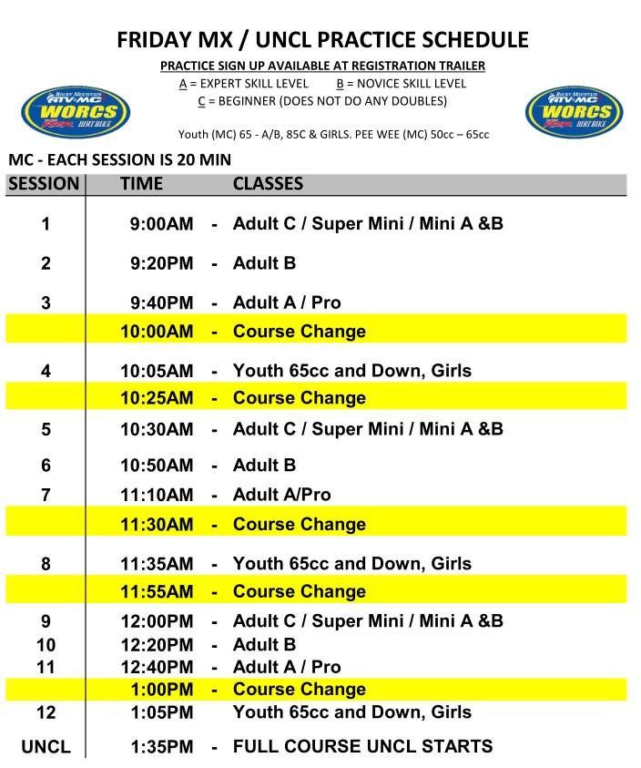 2020 Round 3 Mesquite MC MX Practice Schedule