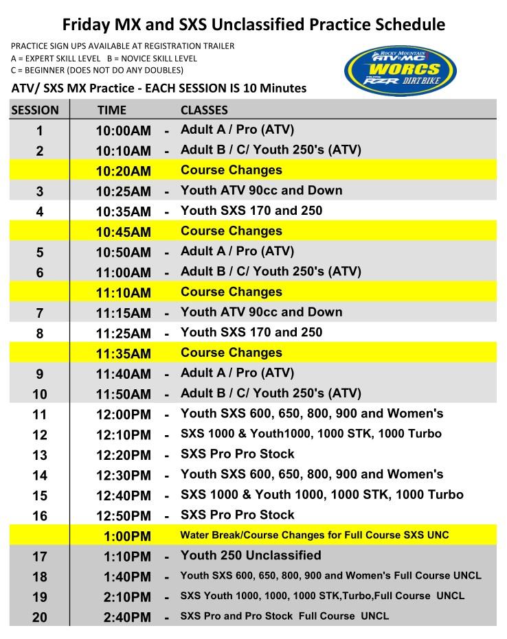 2020 Round 6 Friday MX and UNC HAVASU Schedule