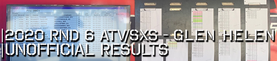 2020 Round 6 ATV SXS Unofficial Results Board