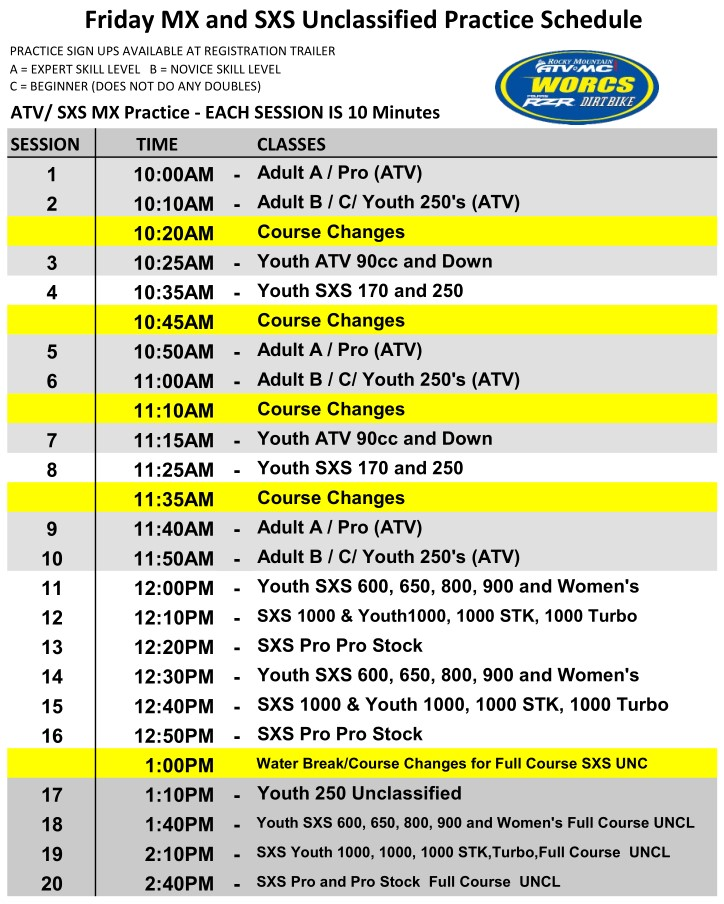 2020 Round 5 Friday MX and UNC Blythe Schedule Web