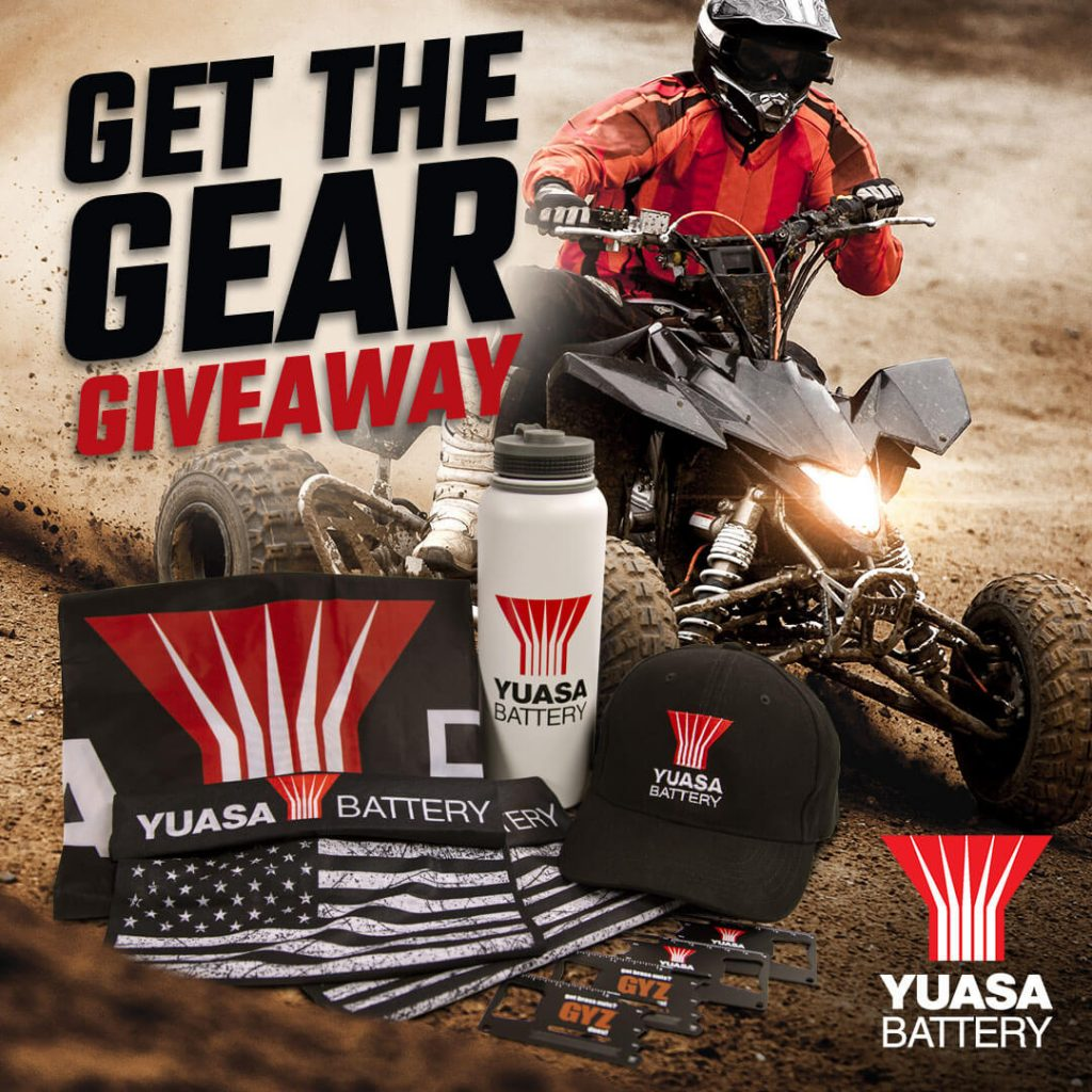 @YUASABATTERYUS ADVANCED ENGINEERING, PREMIUM QUALITY, UNMATCHED RELIABILITY. Yuasa is giving away a sweet swag prize pack to the winner.  1-Flask Growler 4-GYZ Battery Multi-Tool 1-Yuasa Hat 1-3x5 Banner 2-Bandanna Buff 1-USB Charger*not pictured