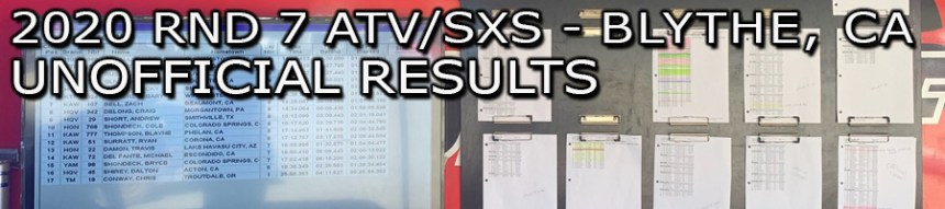 2020 Round 7 ATV SXS Blythe Unofficial Results