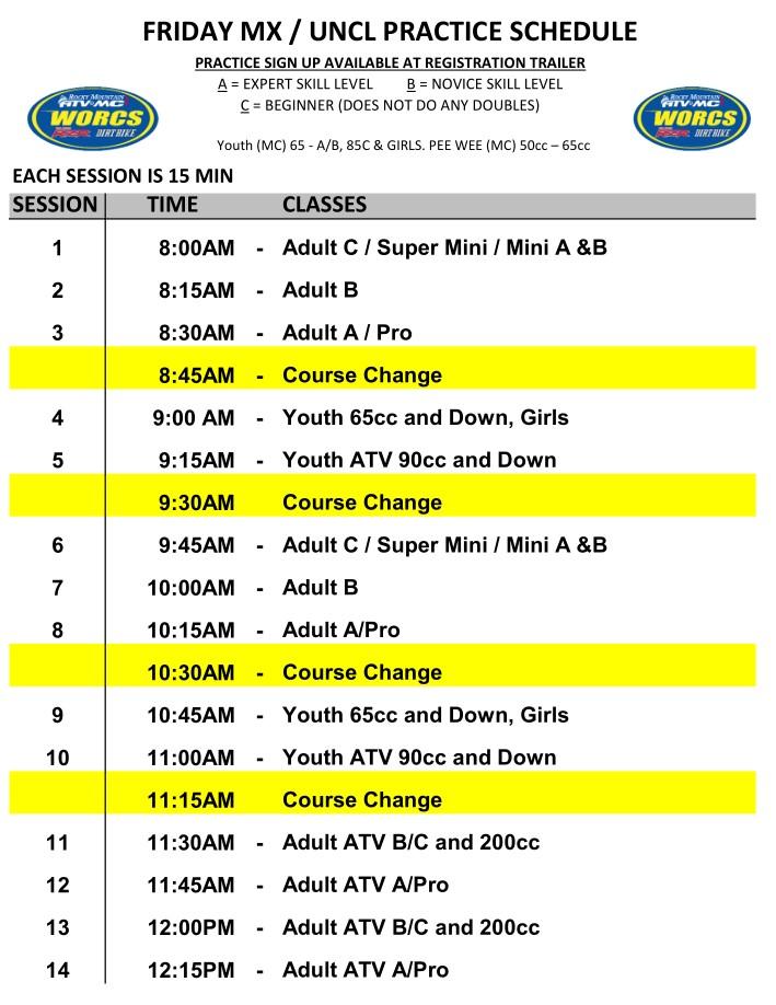 2020 Round 9 ATV MC MX Practice Schedule