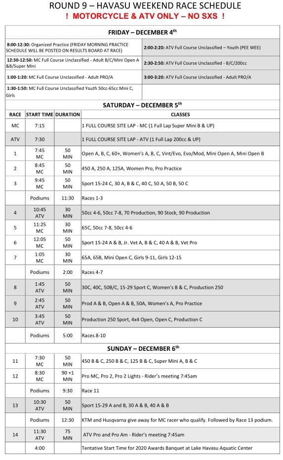 2020 Weekend Schedule Round 9 Havasu MC and ATV