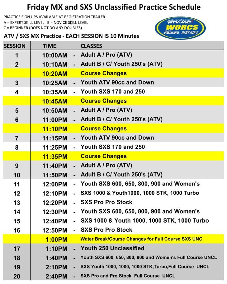 2021 Round 1 Friday MX and UNC HAVASU Schedule WEB